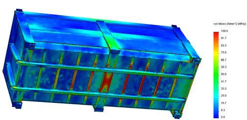 Festigkeitsuntersuchungen für eine Abrollcontainer-Konstruktion